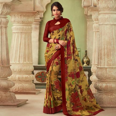 Elegant Beige-Red Colored Casual Wear Floral Printed Chiffon Saree