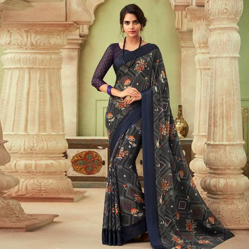 Radiant Grey Colored Casual Wear Floral Printed Chiffon Saree