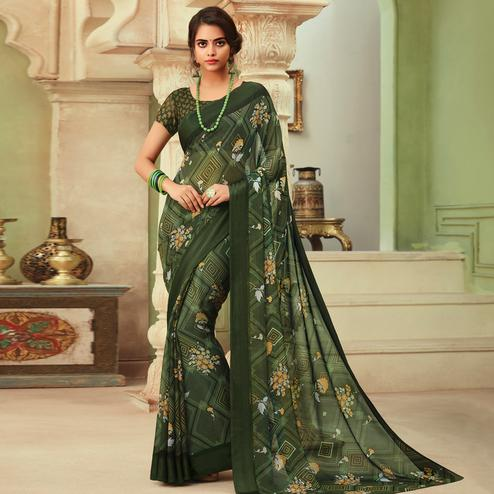 Pleasant Green Colored Casual Wear Floral Printed Chiffon Saree