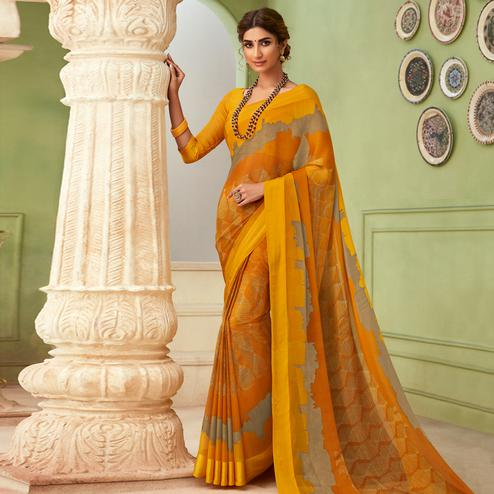 Opulent Yellow Colored Casual Wear Printed Chiffon Saree