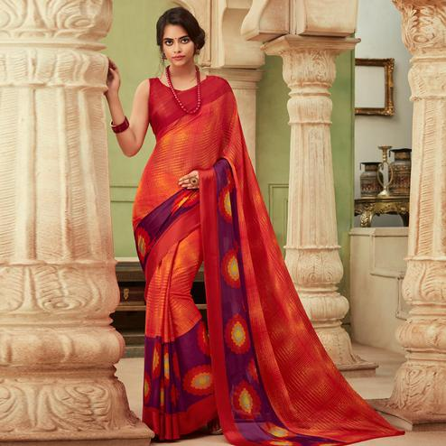 Exceptional Orange Colored Casual Wear Printed Chiffon Saree