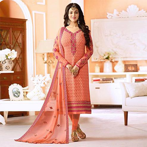 Gorgeous Peach Embroidered Designer Churidar Suit