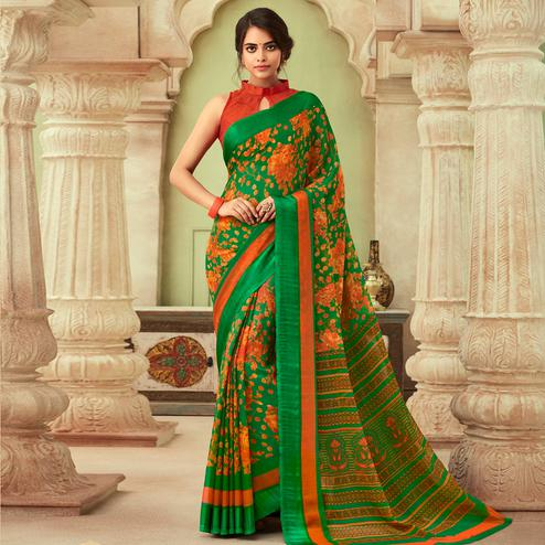 Demanding Green-Orange Colored Casual Wear Floral Printed Chiffon Saree