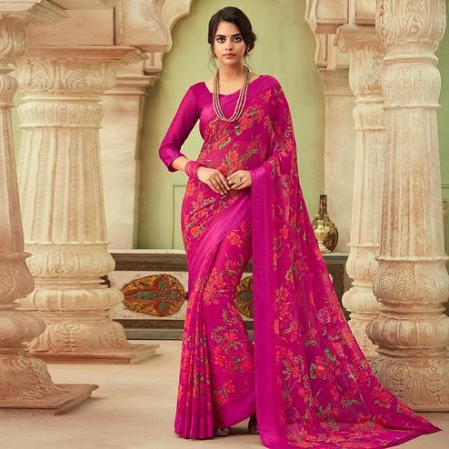Refreshing Pink Colored Casual Wear Floral Printed Chiffon Saree
