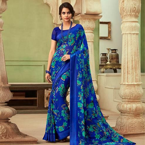 Magnetic Blue Colored Casual Wear Floral Printed Chiffon Saree