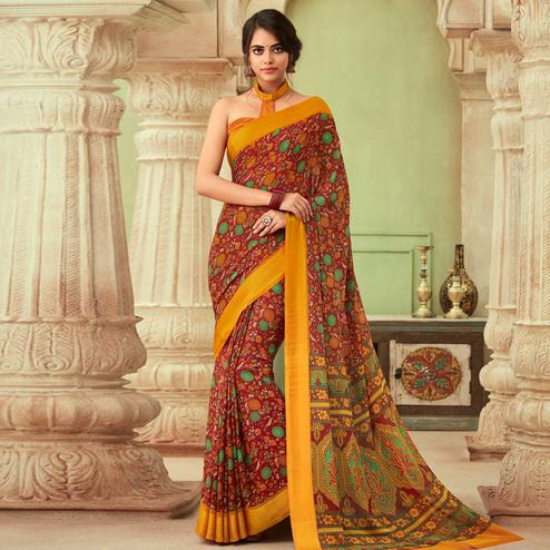 Hypnotic Red Colored Casual Wear Floral Printed Chiffon Saree
