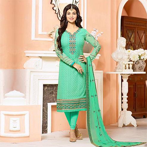 Ravishing Green Embroidered Designer Churidar Suit