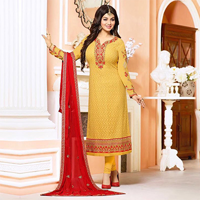Stunning Yellow Embroidered Designer Churidar Suit