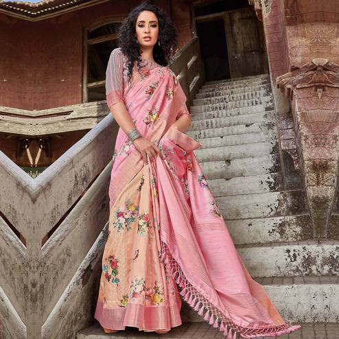 Captivating Pink Colored Festive Wear Digital Printed Silk Saree