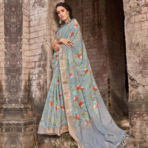 Innovative Grey Colored Festive Wear Digital Printed Silk Saree