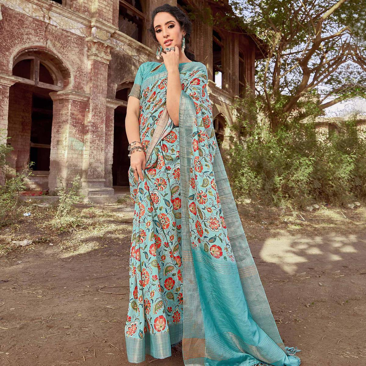 Blissful Aqua Blue Colored Festive Wear Digital Printed Silk Saree