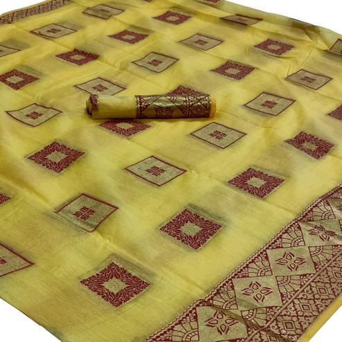 Ideal Yellow Colored Festive Wear Woven Cotton Saree
