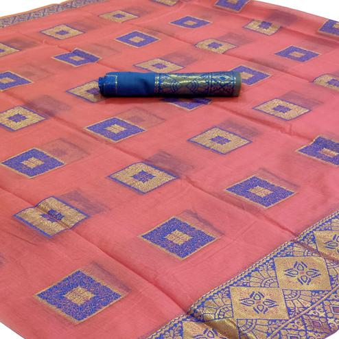 Imposing Pink Colored Festive Wear Woven Cotton Saree