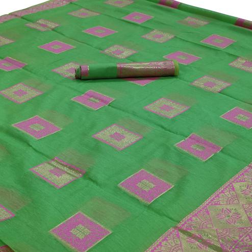Lovely Green Colored Festive Wear Woven Cotton Saree
