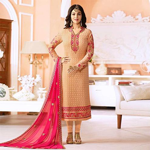 Mesmerising Biege Embroidered Designer Churidar Suit
