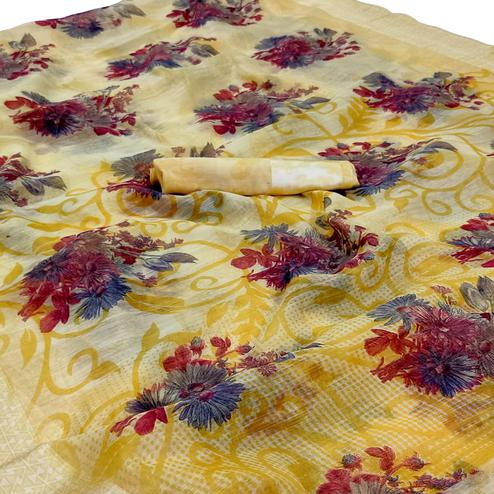Refreshing Yellow Colored Casual Wear Floral Printed Linen Saree