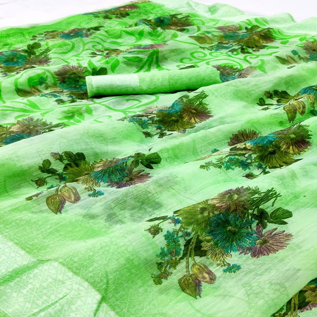 Magnetic Green Colored Casual Wear Floral Printed Linen Saree