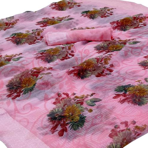 Lovely Pink Colored Casual Wear Floral Printed Linen Saree