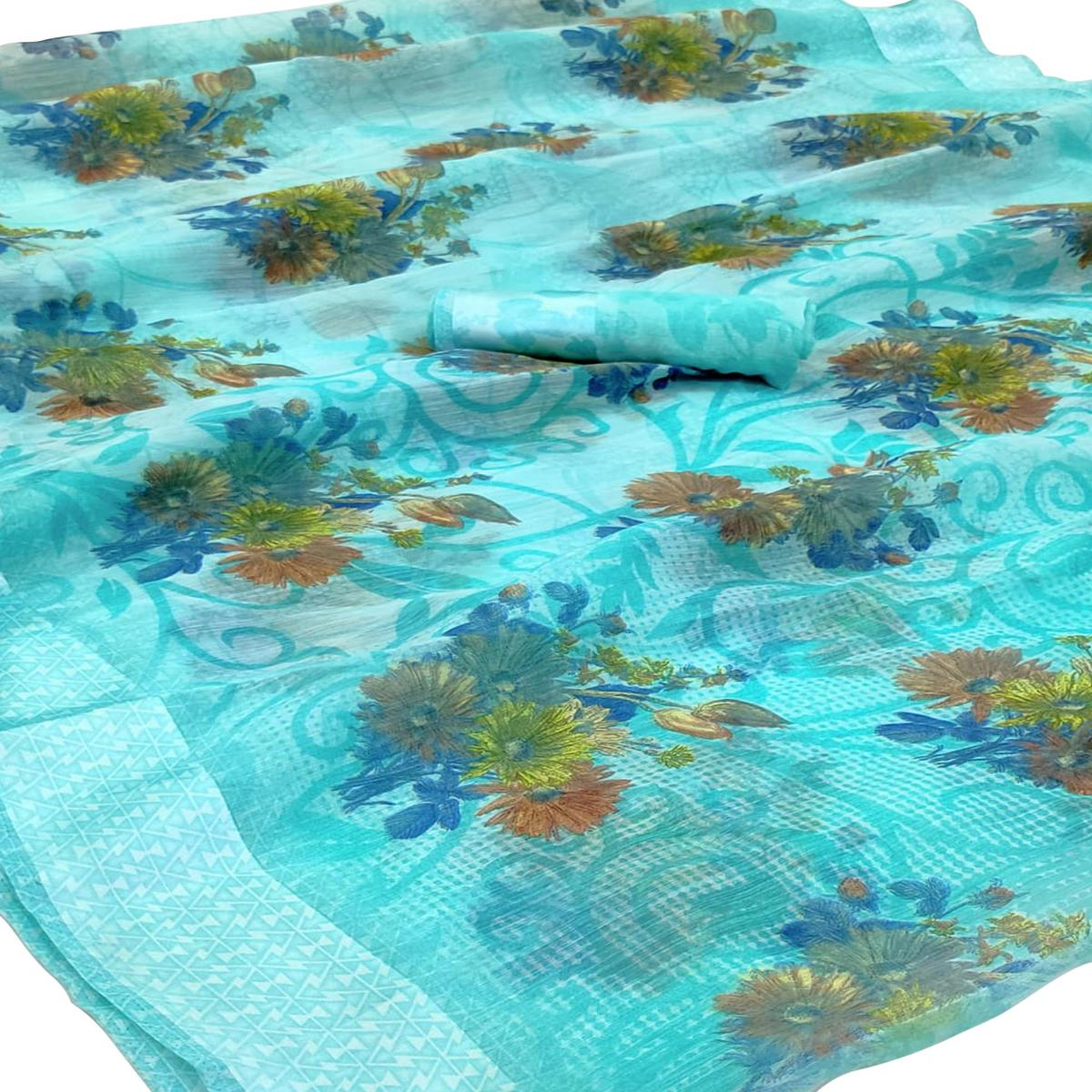 Trendy Blue Colored Casual Wear Floral Printed Linen Saree