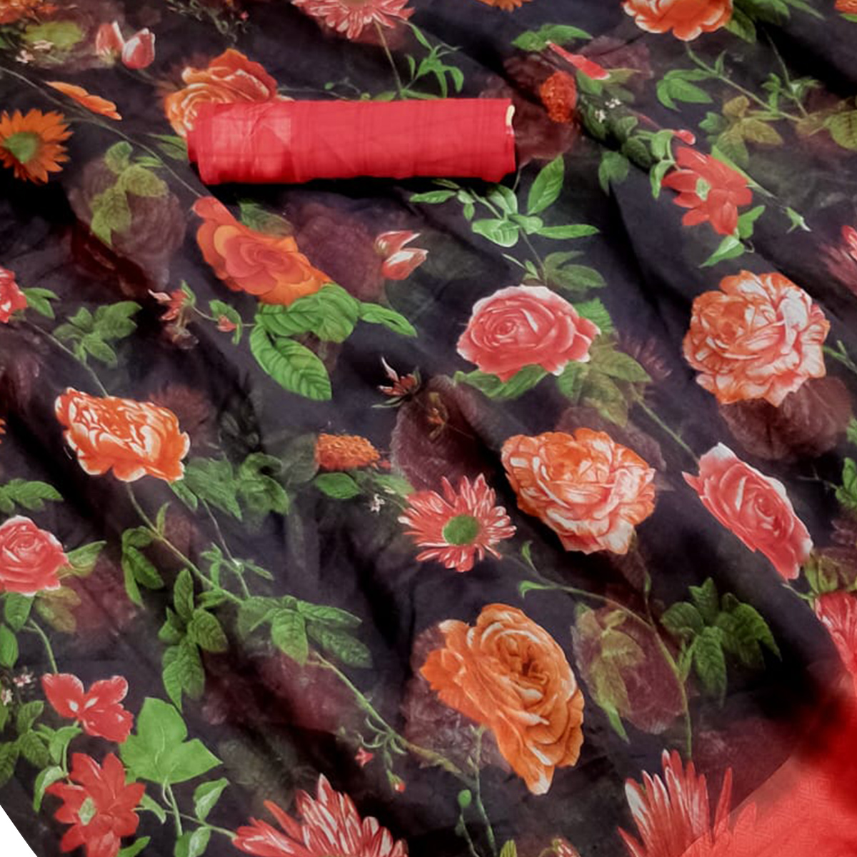 Prominent Black Colored Casual Wear Floral Printed Linen Saree
