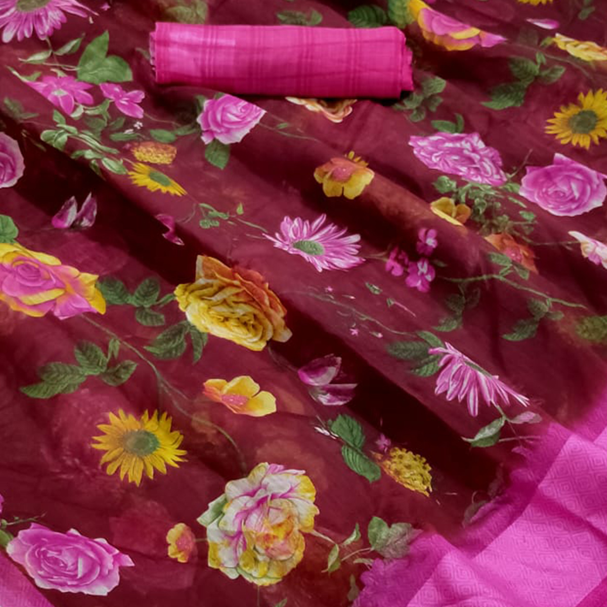 Appealing Maroon Colored Casual Wear Floral Printed Linen Saree