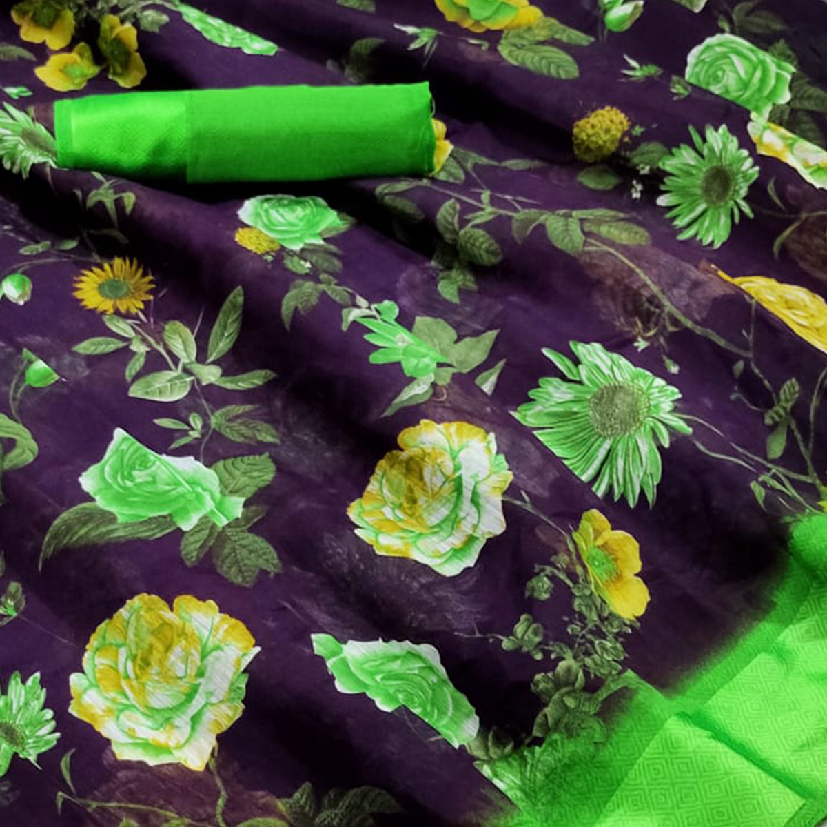 Groovy Navy Blue Colored Casual Wear Floral Printed Linen Saree