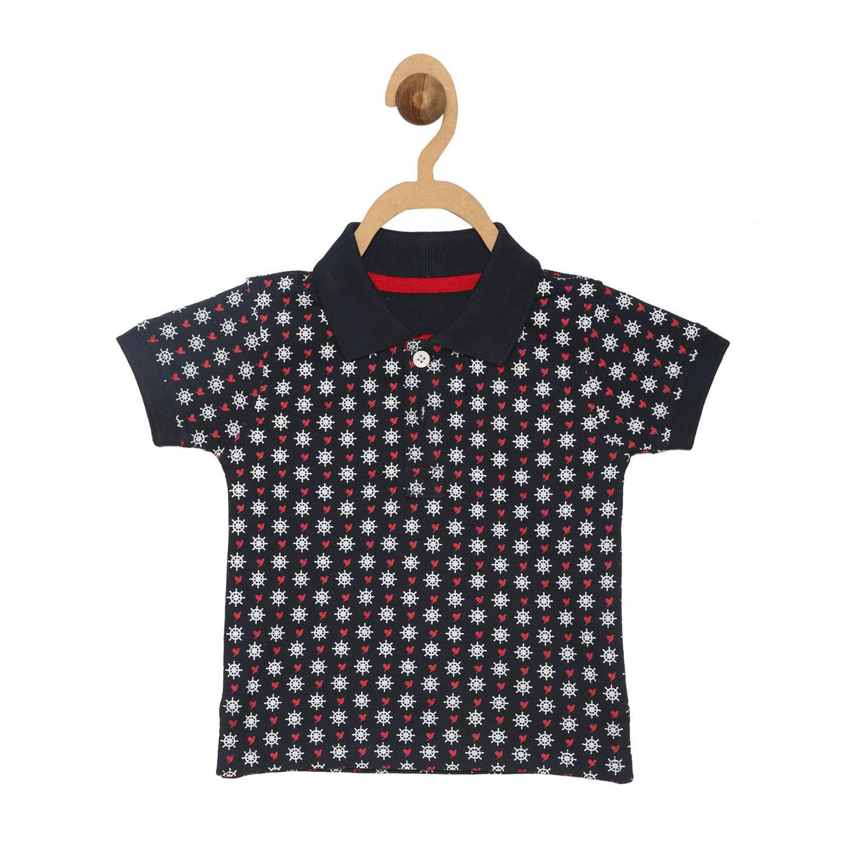 612 League - Navy Colored Collared Aop Printed Cotton Polo T-shirt For Baby Boys