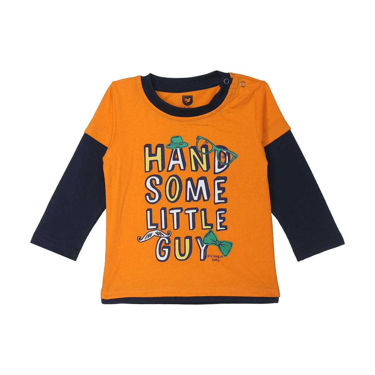 612 League - Orange Colored R/N Handsome Knit Graphic Cotton T-shirt For Baby Boys