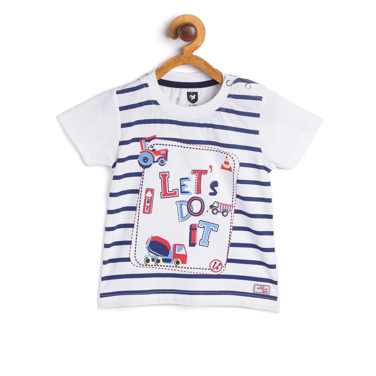 612 League - White Colored Let's Do It Knit Graphic T-shirt For Baby Boys