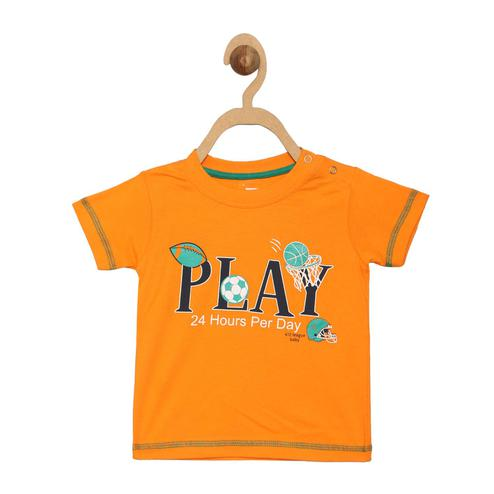 612 League - Orange Colored R-neck Play Knit Graphic Cotton T-shirt For Baby Boys