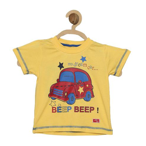612 League - Mustard Colored R-neck Beep Knit Graphic Cotton T-shirt For Baby Boys