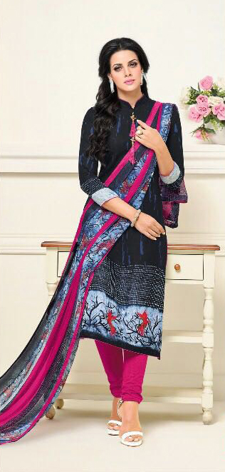 Black - Pink Casual Wear Printed Suit
