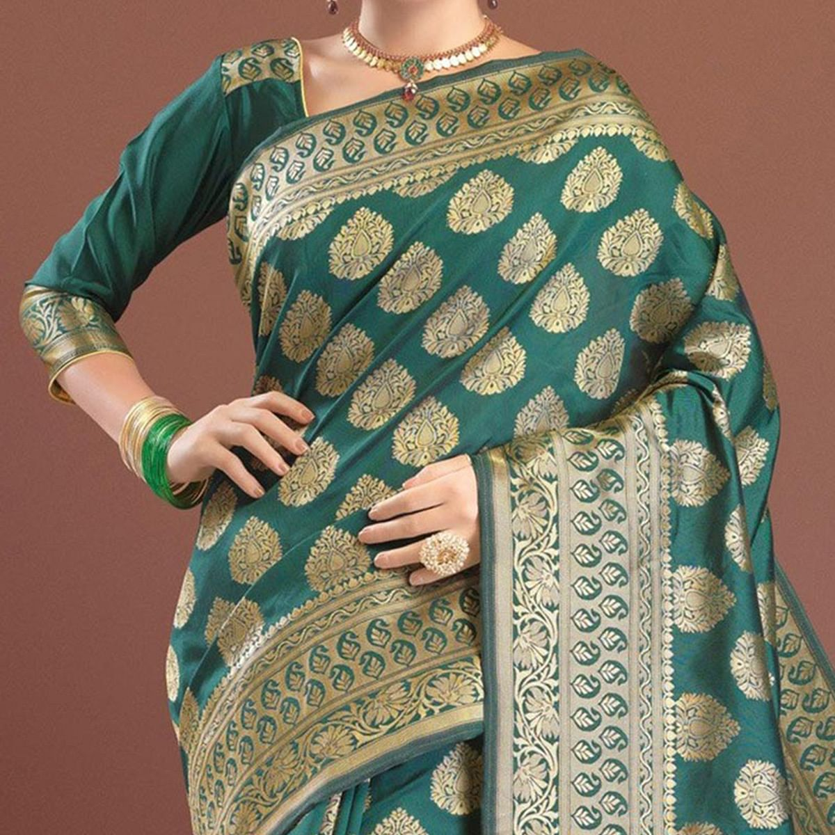 Gorgeous Green Festive Woven Silk Saree