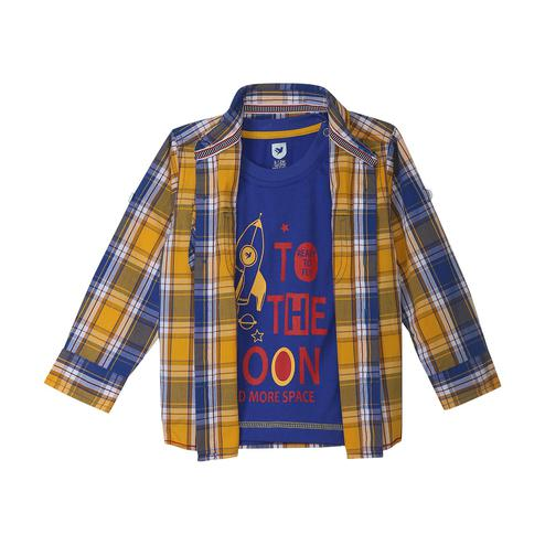 612 League - Blue-Yellow Colored Checks Shirt With Knit Graphic Cotton T-shirt 2 Pcs Set For Baby Boys