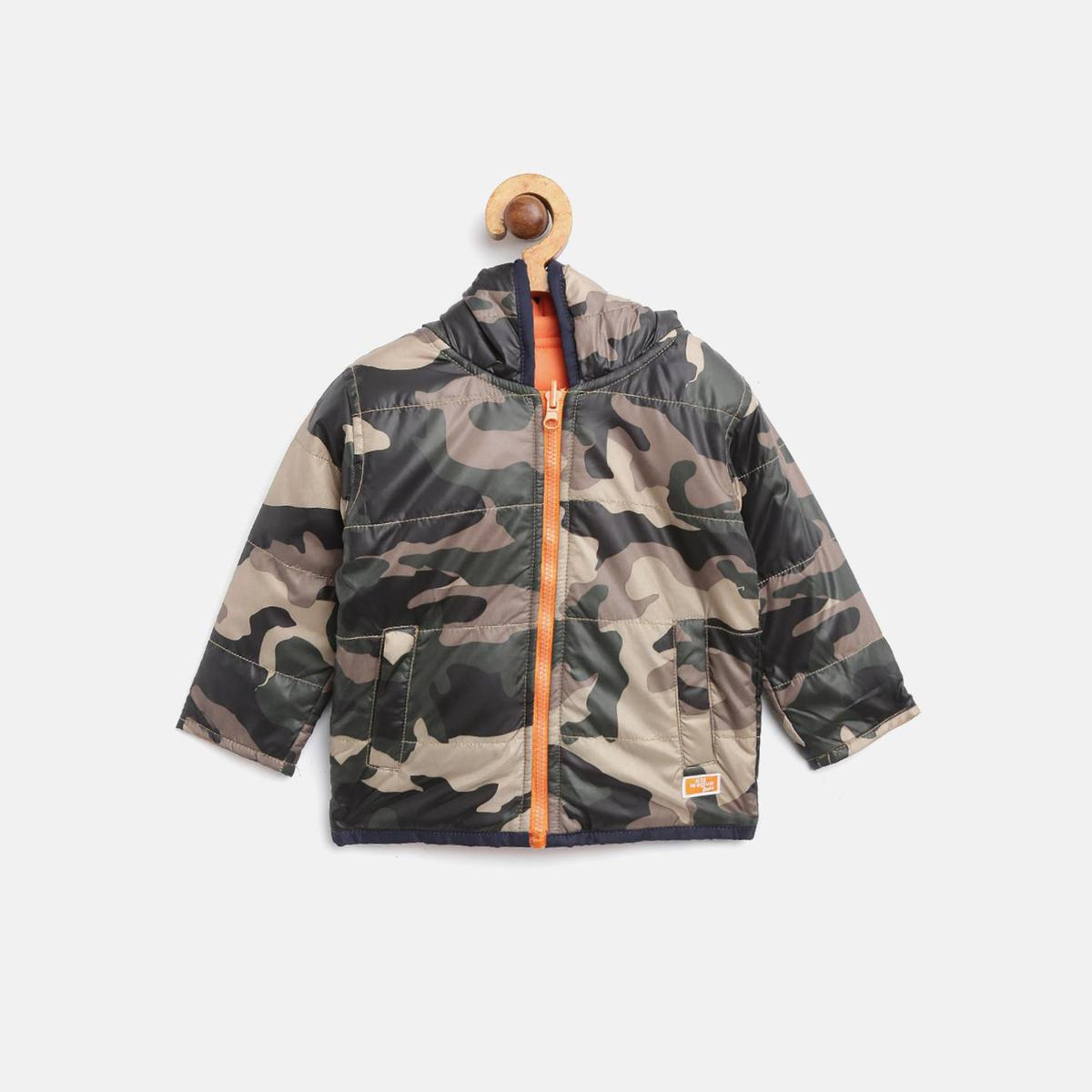 612 League - Olive Colored Reversible Camo F/S Polyester Jacket For Baby Boys