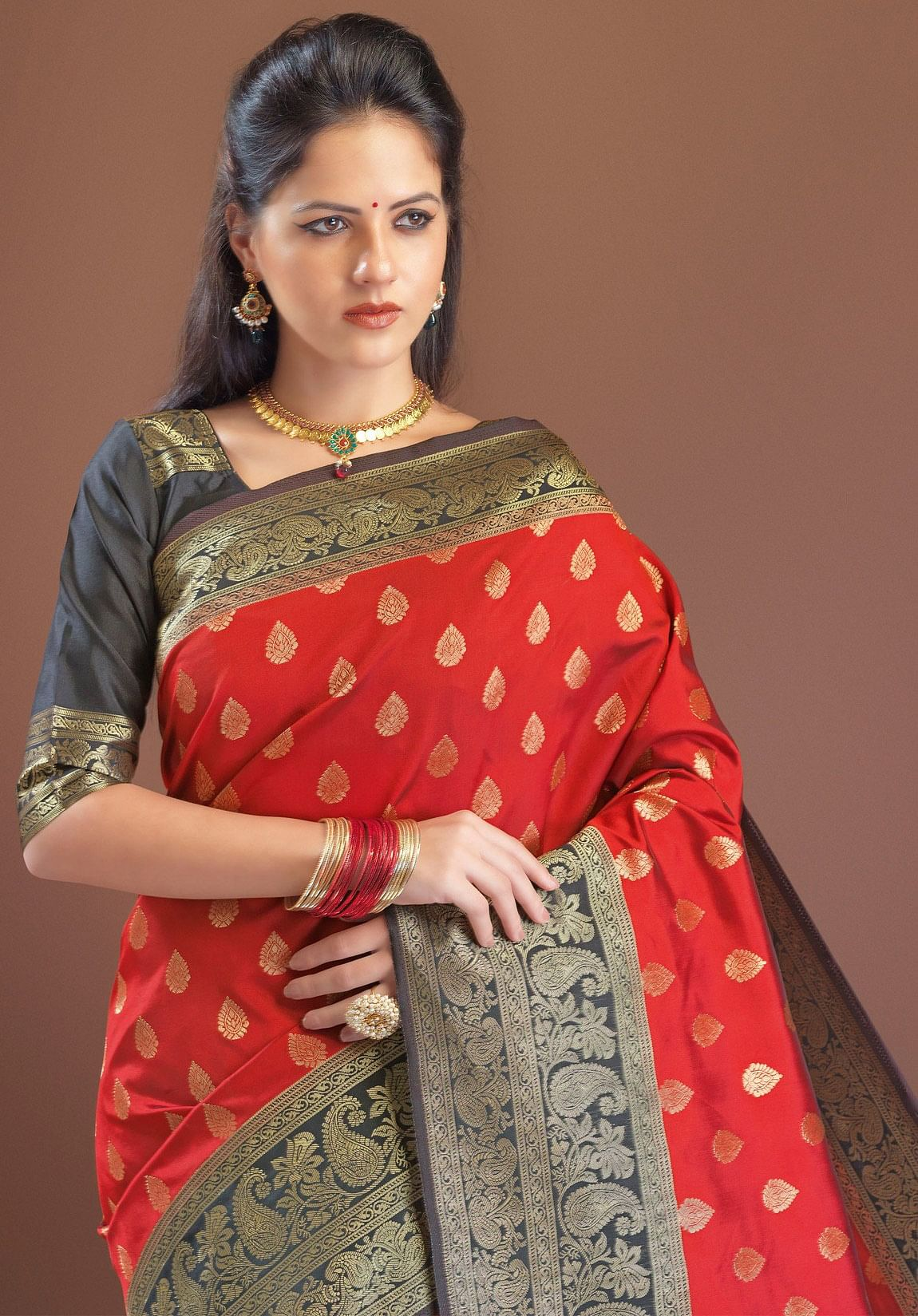 Elegant Red Festive Woven Silk Saree