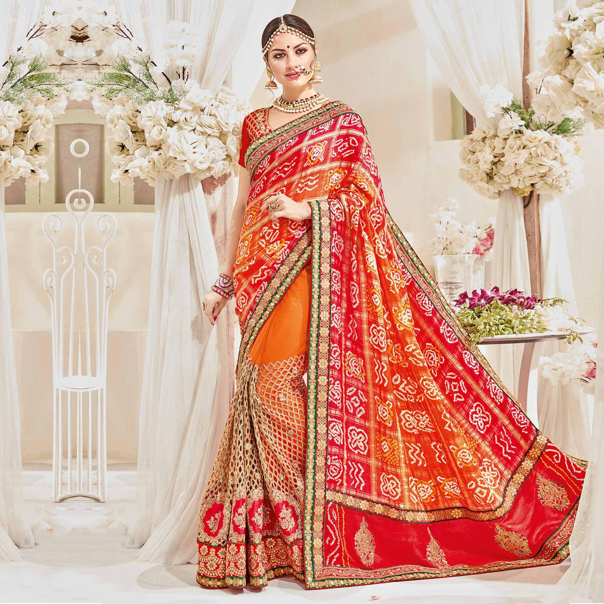 Buy Hot Orange-Red Designer Wedding Saree Online India