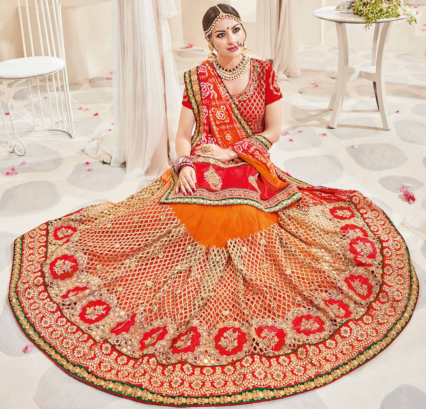 Hot Orange-Red Designer Wedding Saree