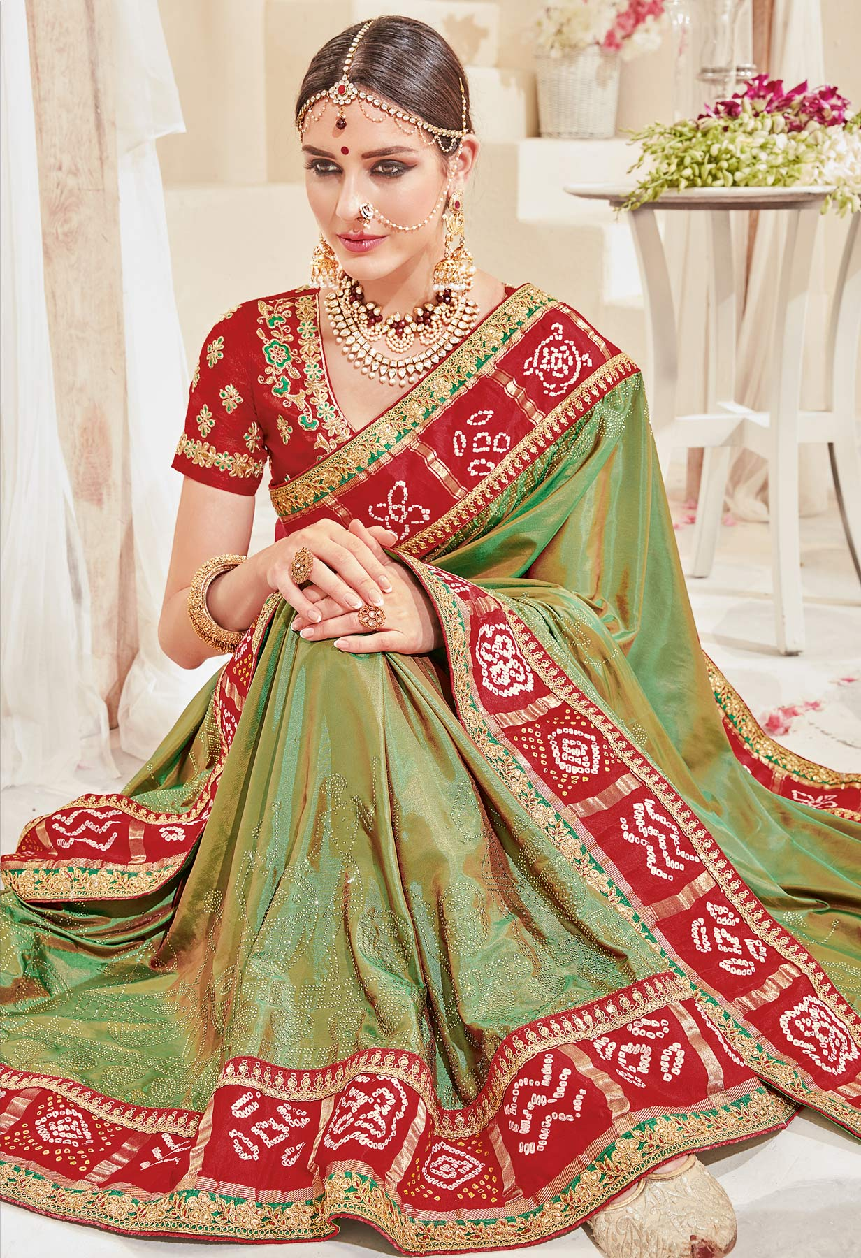 Lovely Green-Red Designer Wedding Saree