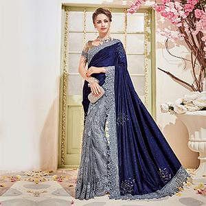 Elegant Navy Blue-Gray Designer Wedding Saree