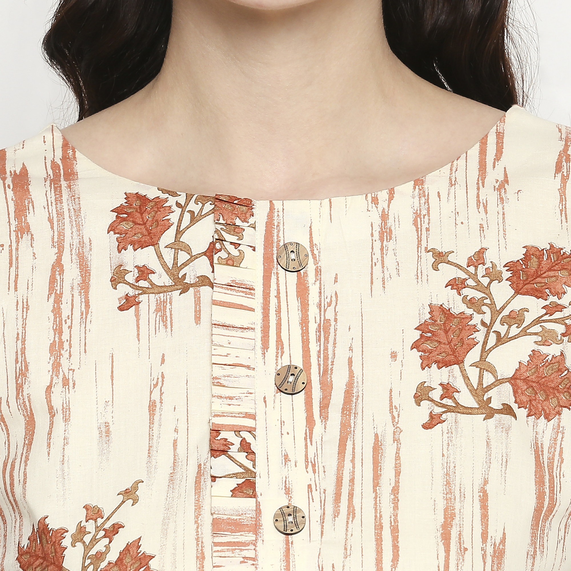 Adorable White-Mauve Colored Casual Wear Floral Printed Cotton Kurti With Dupatta