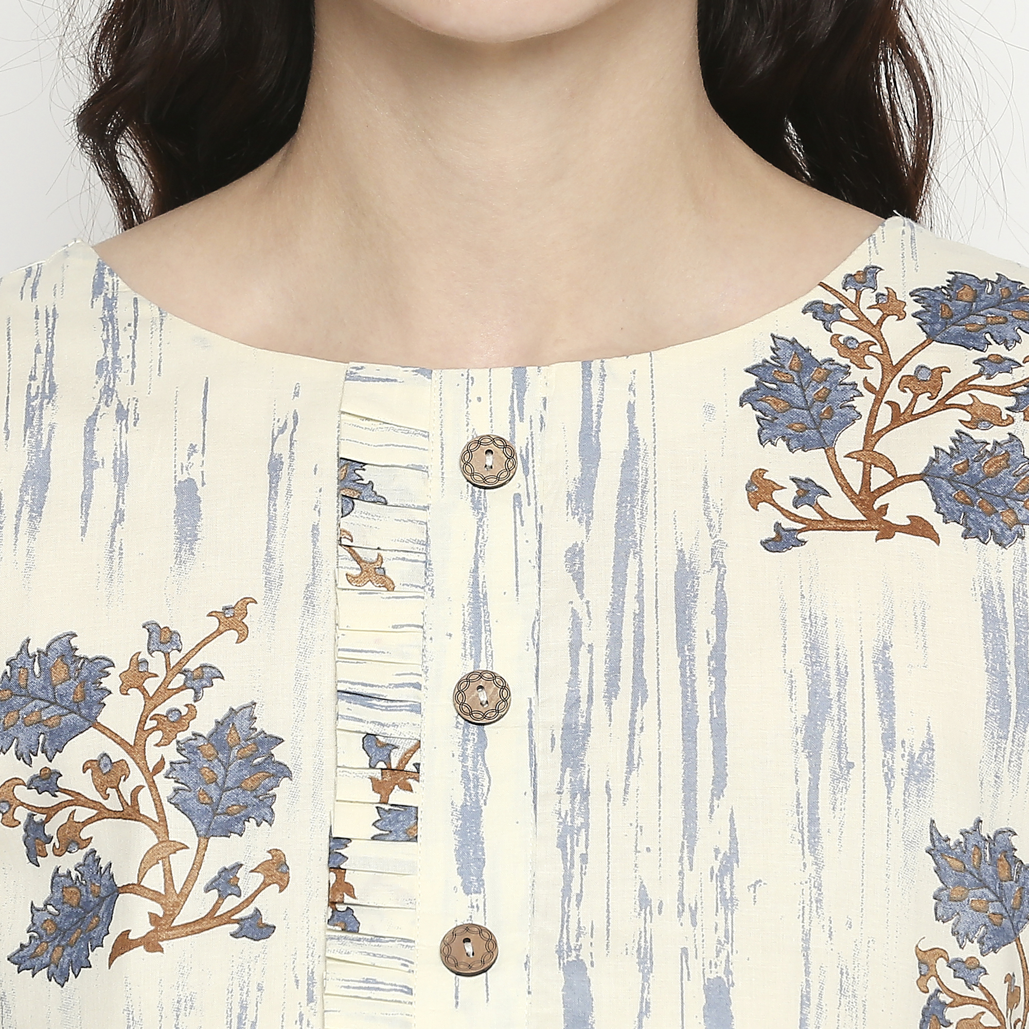 Glorious White-Grey Colored Casual Wear Floral Printed Cotton Kurti With Dupatta