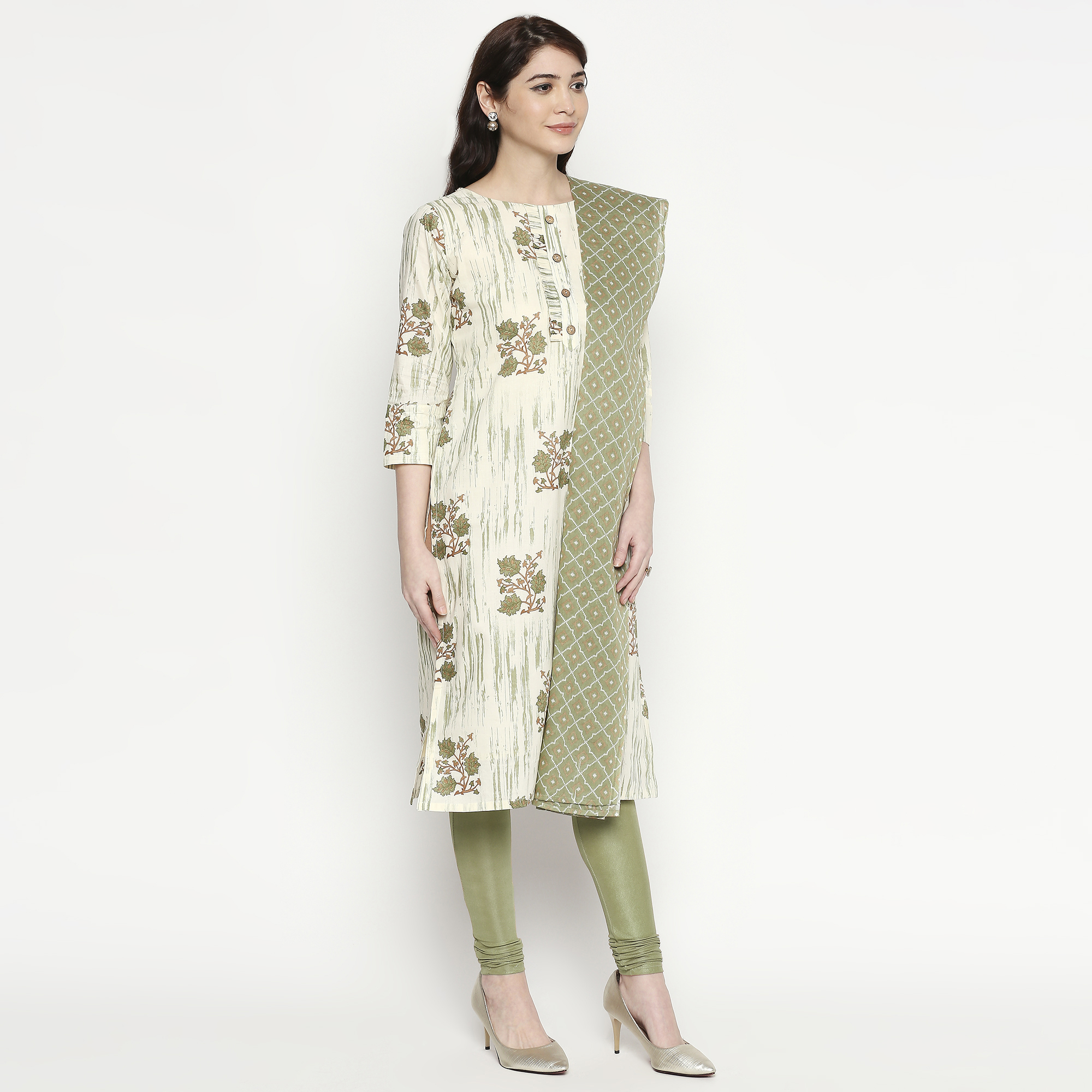 Attractive White-Green Colored Casual Wear Floral Printed Cotton Kurti With Dupatta