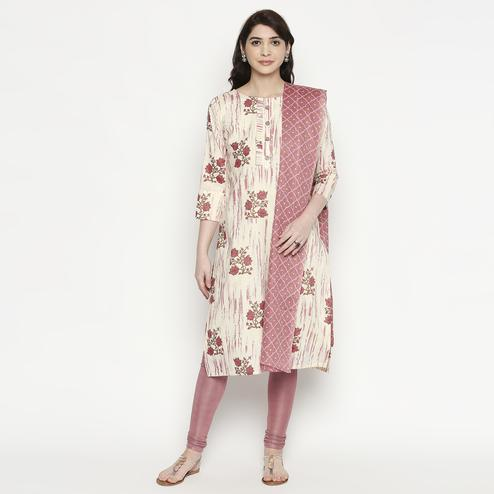Beautiful White-Pink Colored Casual Wear Floral Printed Cotton Kurti With Dupatta