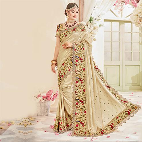 Stunning Cream Designer Wedding Saree