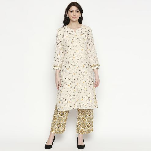 Captivating White Colored Casual Wear Printed Cotton Kurti-Palazzo Set
