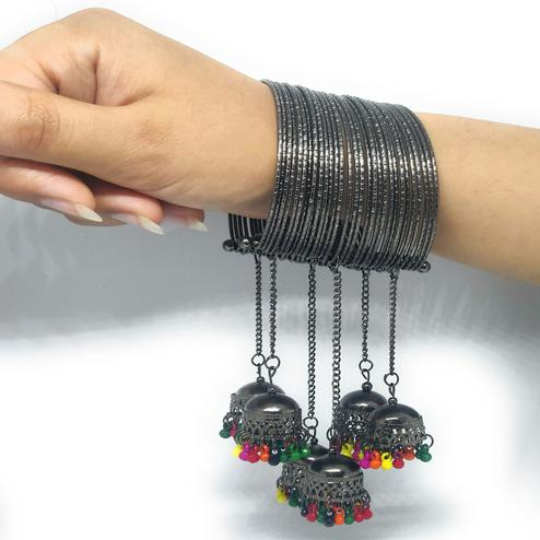 Zaffre Collections - Trendy Black Adjustable Bangle With Colorful Tassel Pack Of 1