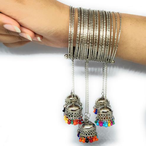 Zaffre Collections - Trendy Silver Adjustable Bangle With Colorful Tassel