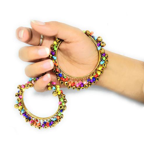 Zaffre Collections - Trendy Gold Bangle With Colorful Ghungroo Set Of 2