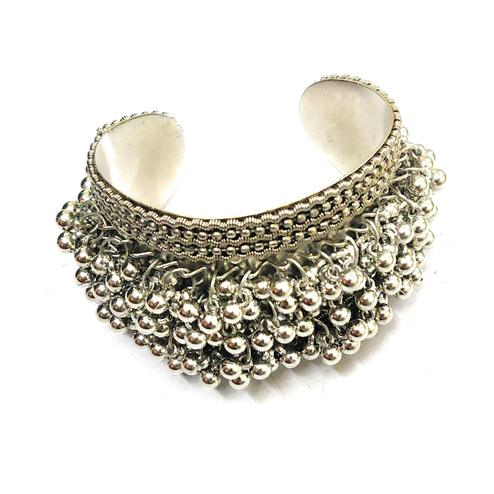 Zaffre Collections - Trendy Oxidised Silver Adjustable Ghungroo Cuff Bracelet For Women And Girls